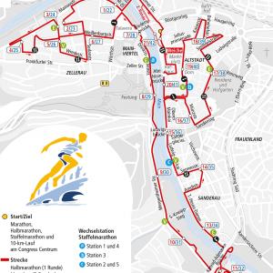 Strecke Marathon, Halbmarathon und Staffelmarathon 2017